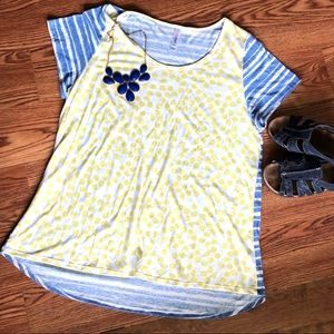 Yellow dot and blue stripe classic tee